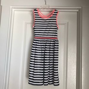 Navy coral striped lace dress